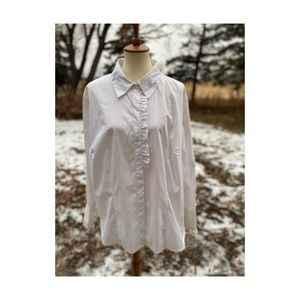 Vintage 80s White Ruffles Shirt Button Up